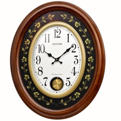日本麗聲 RHYTHM 歐式木質外殼 整點報時 音樂鐘(CMJ580NR06)/48*60cm