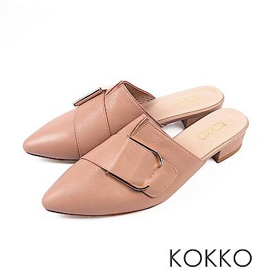 KOKKO - 時髦做自己尖頭穆勒羊皮平底鞋-美人膚