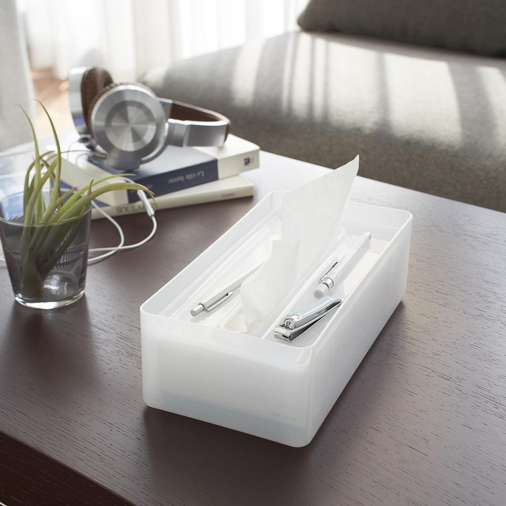 【YAMAZAKI】LUXS晶透收納面紙盒-白★衛浴收納/居家收納/衛生紙
