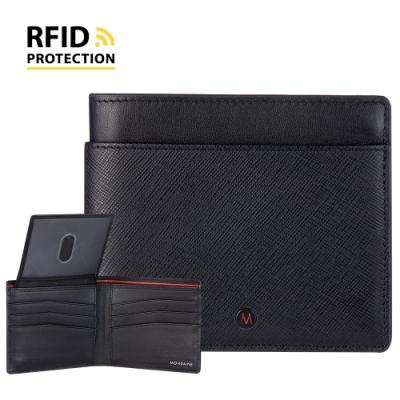 MONDAINE 瑞士國鐵 蘇黎世系列RFID防盜 ID視窗8卡短夾 - 十字紋