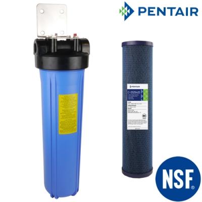 怡康 20吋大胖單道藍色濾殼吊片組+PENTAIR 20吋公規大胖纖維活性碳濾心
