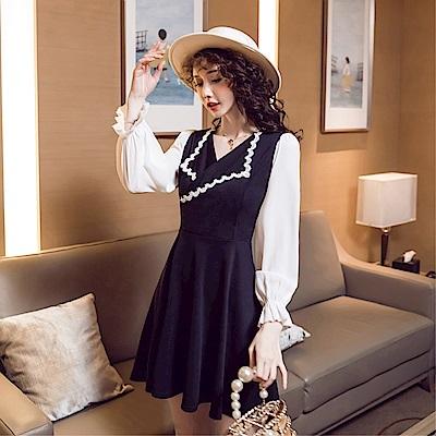 DABI 韓國風V領顯瘦領口波浪長袖洋裝