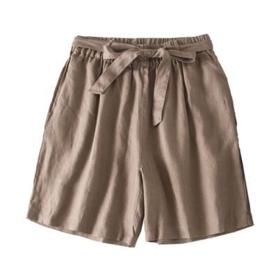 初色  日系繫帶五分短褲-共3色-(M-2XL可選)
