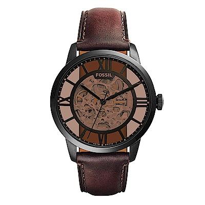 FOSSIL 皇家品味雙針鏤空皮革機械錶 (ME 3098 )- 44 mm