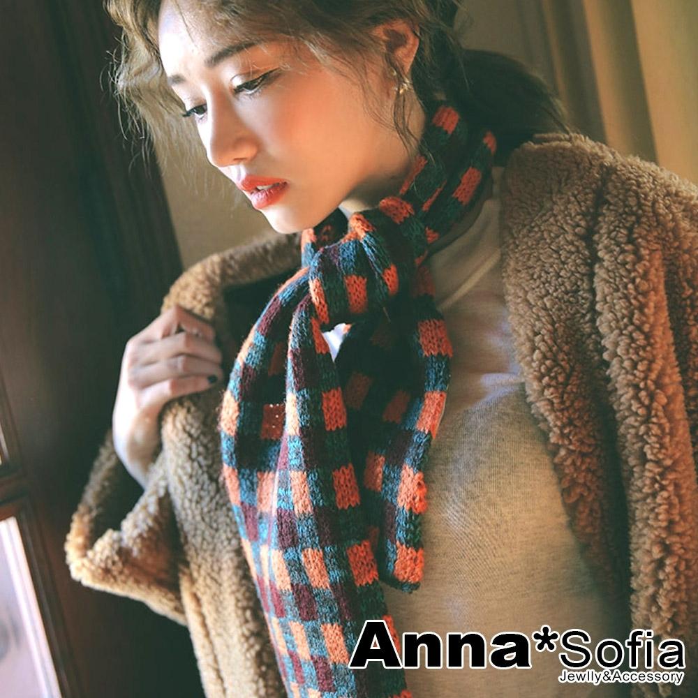 AnnaSofia 歐美交錯棋格 窄版針織小圍巾(橘灰綠系)