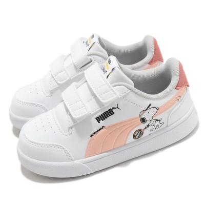 Puma 休閒鞋 Peanuts Shuffle 史努比 童鞋 基本款 簡約 魔鬼氈 舒適 小童 穿搭 白 粉 37574102