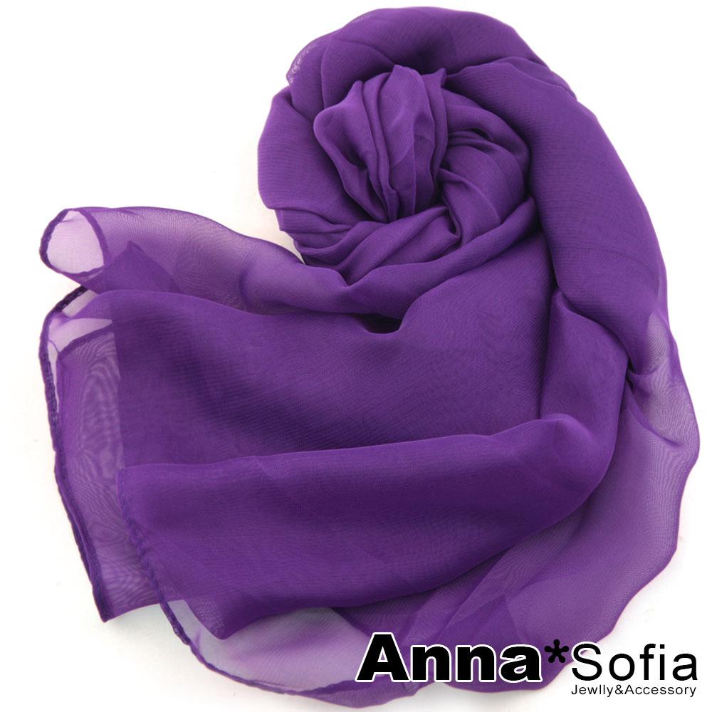 AnnaSofia 素面單色 雪紡圍巾長絲巾(深紫系)