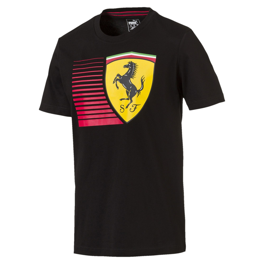 PUMA-男性法拉利車迷系列大盾短袖T恤-黑色-歐規