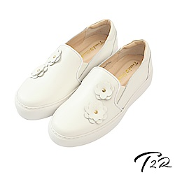 【T2R】全真皮手工立體花樣造型懶人鞋/樂福鞋-白