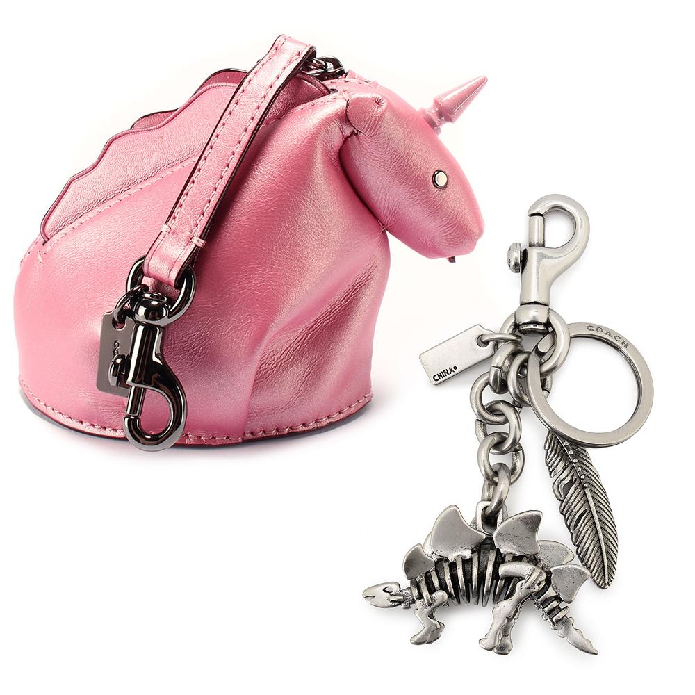 COACH STEGGY可愛恐龍造型皮革吊飾零錢包/鑰匙圈 均價3599COACH