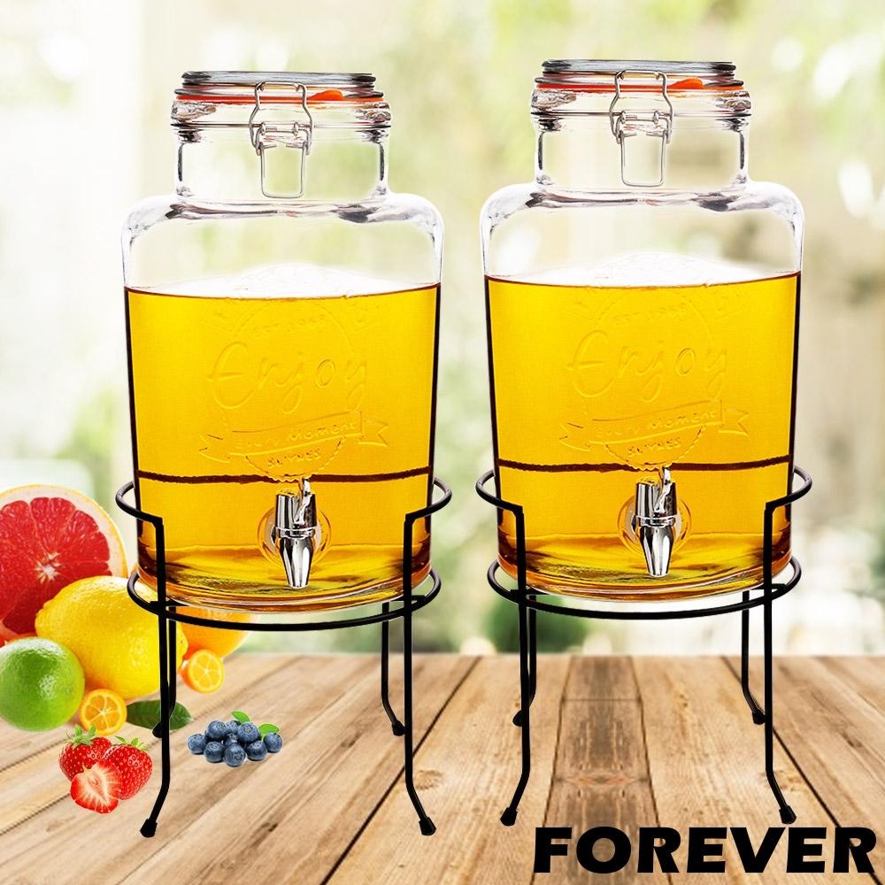 日本FOREVER 夏天必備派對玻璃果汁飲料桶(含桶架)5L-2入組