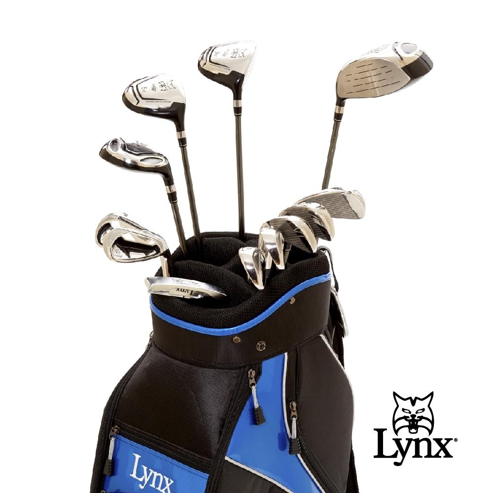 【Lynx Golf】男款Lynx山貓 Black Cat高爾夫套桿組(附球袋)-銀頭