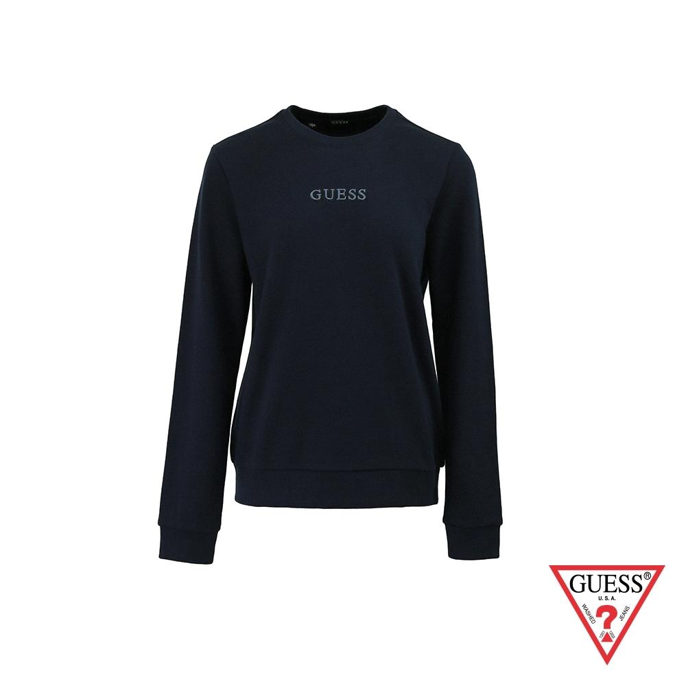 GUESS-女裝-簡約素面雙刺繡LOGO大學T-深藍 原價2990