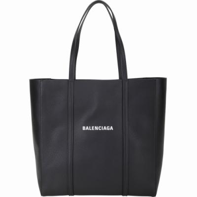 BALENCIAGA Everyday 品牌字母小牛皮手提肩背托特包(黑色)