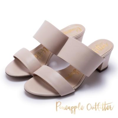 Pineapple Outfitter-寬版二字帶高跟拖鞋-粉色