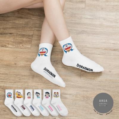 阿華有事嗎 韓國襪子 哆啦A夢人物中筒襪 韓妞必備長襪 正韓百搭卡通襪