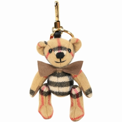 BURBERRY Thomas Vintage格紋喀什米爾泰迪熊吊飾(古典黃)