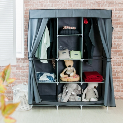 樂嫚妮 DIY組合防塵衣櫃/衣櫥-灰