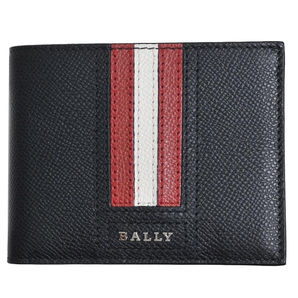 BALLY TEVYE 經典字母LOGO直紋六卡對折短夾(黑色)