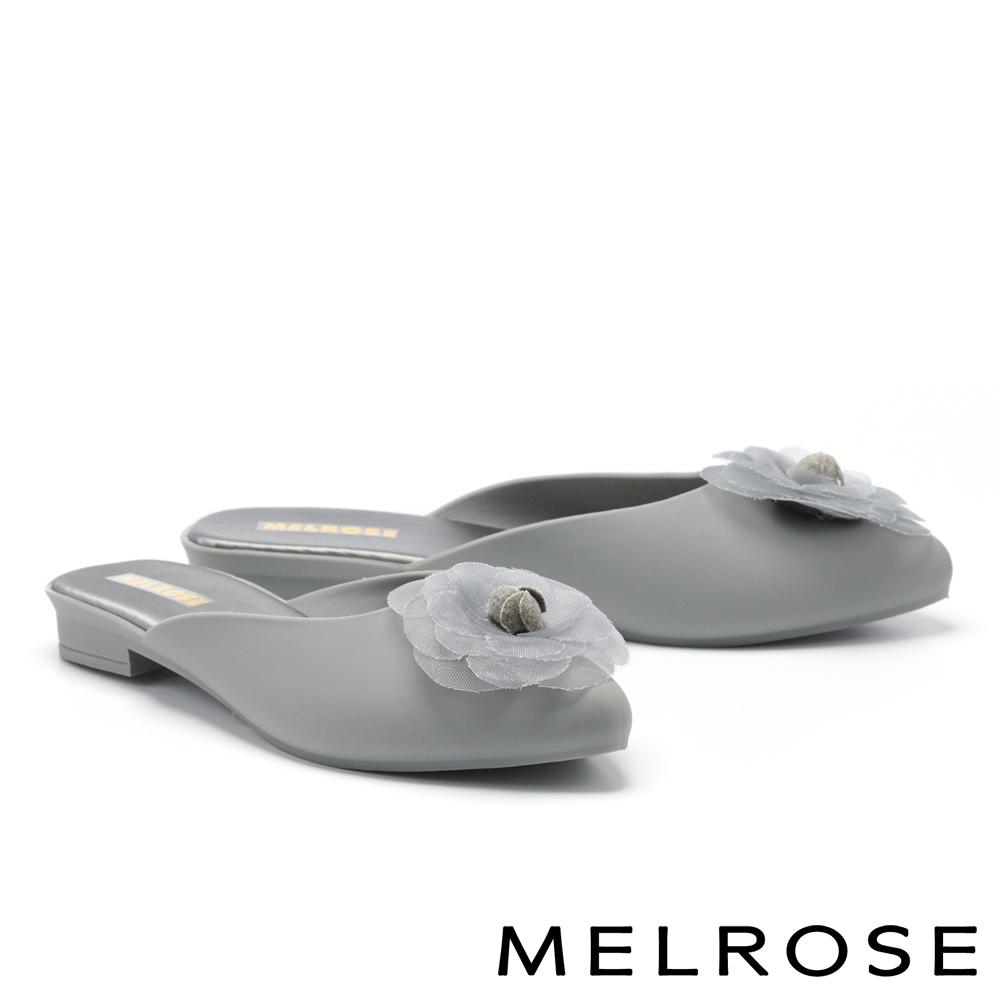 穆勒鞋 MELROSE 氣質典雅網紗山茶花造型防水穆勒低跟拖鞋-灰