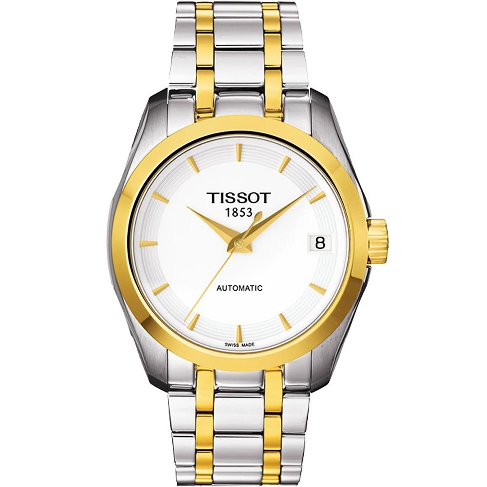 TISSOT Couturier Lady 優美機械腕錶-白x半金/32mm T0352072201100