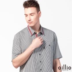 oillio歐洲貴族 短袖襯衫 紳士細格 特色領巾 灰色