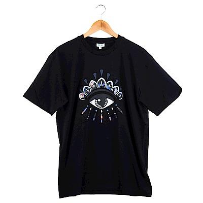 KENZO 新款印刷眼睛塗鴨圖騰短T (黑色/男款)
