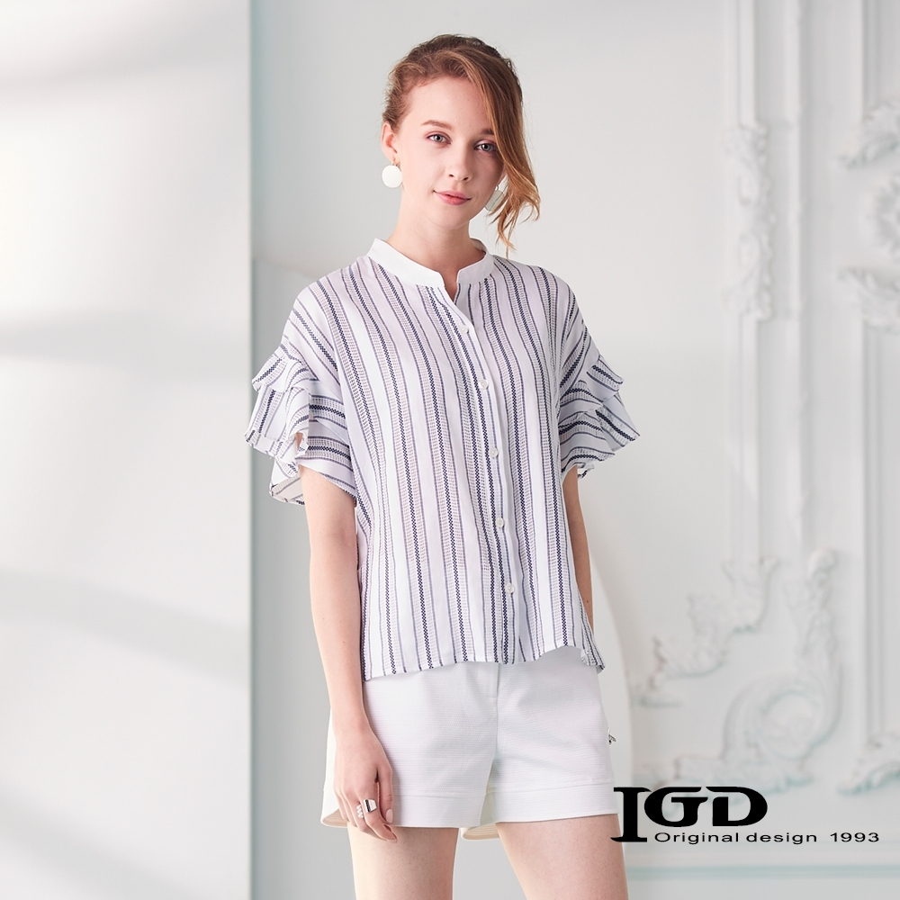 IGD英格麗 拼接條紋小立領上衣-白色