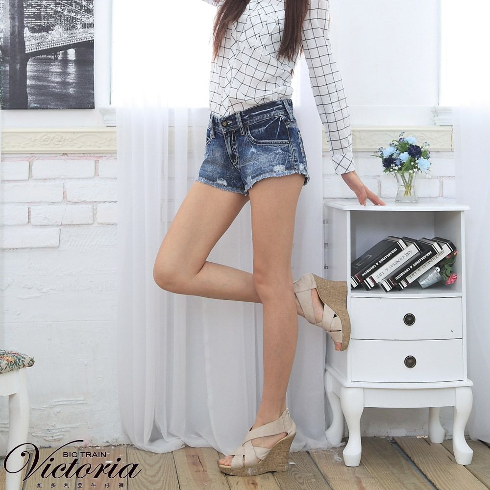 Victoria 天絲棉男友短褲-女-中深藍