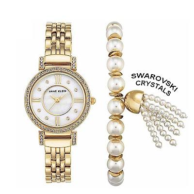 Anne Klein 人魚的眼淚優雅手錶手鍊套組-白色珍珠母貝x29mm