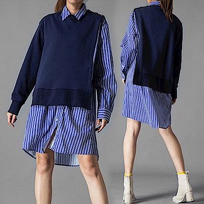 潮感拼接銅釦衛衣襯衫連裙-(藍色)Andstyle