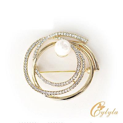 Cylyla思琳娜 施華洛世奇元素圓舞曲珍珠胸針B-1130G