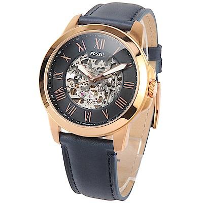 FOSSIL Grant 自動機械海軍藍皮革腕錶-(ME3102)-45mm