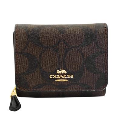 COACH深咖啡C Logo內真皮釦式三摺零錢袋小短夾