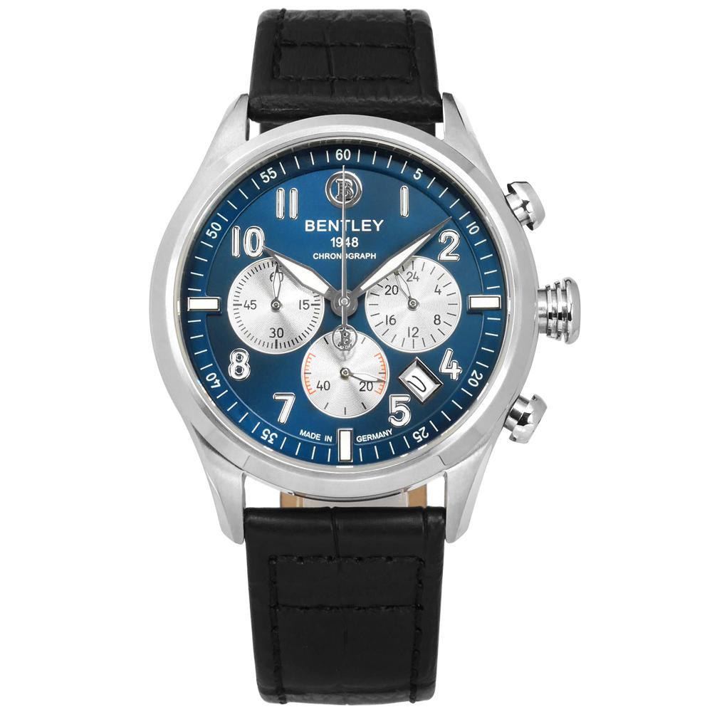 BENTLEY 賓利 德國製造 藍寶石水晶玻璃 三眼計時 真皮手錶-藍x黑/43mm