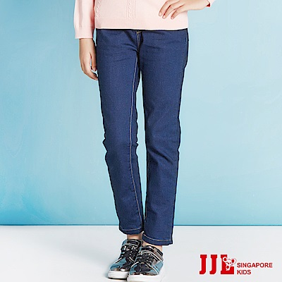 JJLKIDS  女孩必敗直筒鬆緊牛仔褲(牛仔藍)