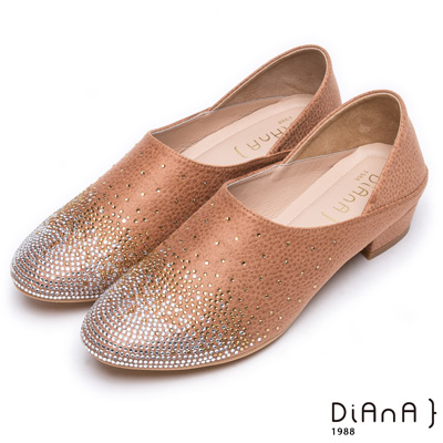 DIANA 媚惑奢華-閃耀動人漸層水鑽跟鞋-棕