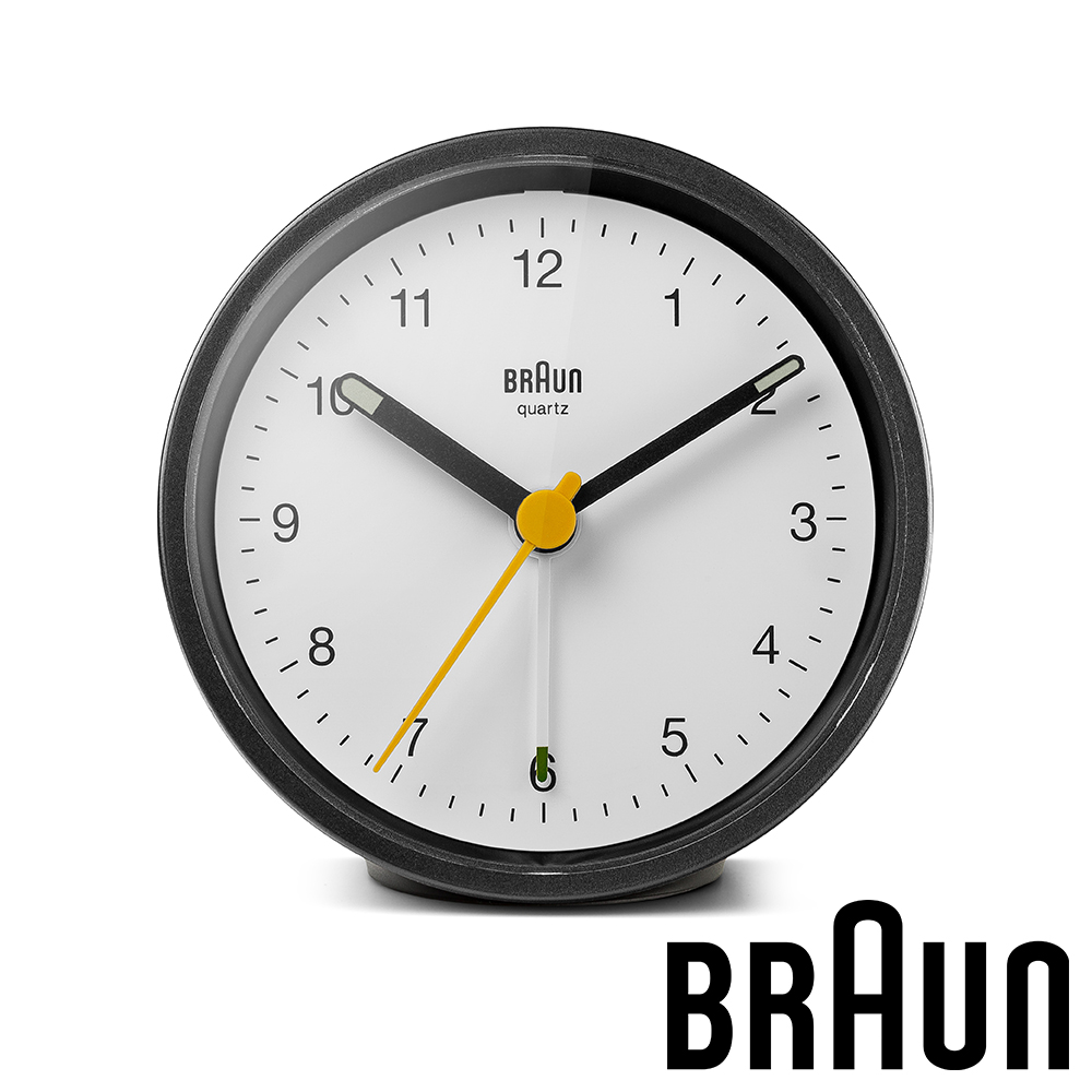 德國百靈 BRAUN 簡約經典款圓形鬧鐘 (BC12BW)-黑白雙色