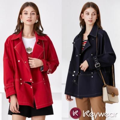 [時時樂獨降]KeyWear奇威名品    專櫃正品-時尚排釦設計款風衣-共2色