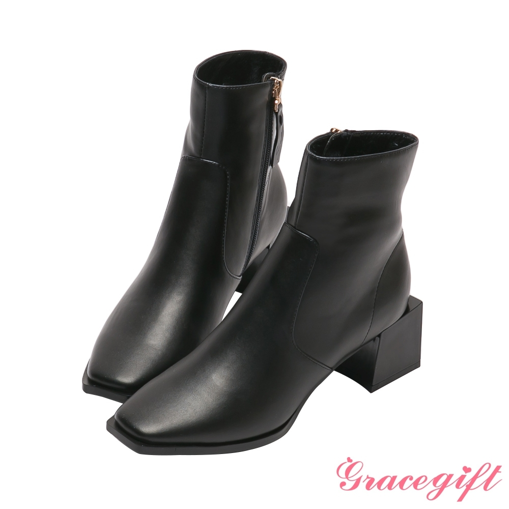Grace gift X玄玄-聯名La La Land方形中跟短靴 黑