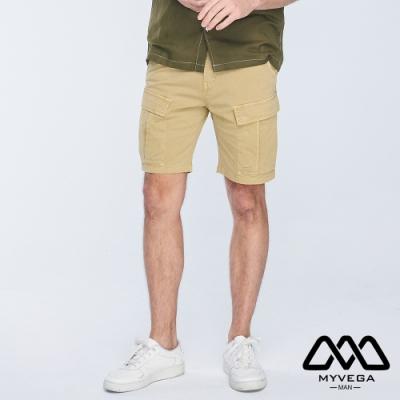 MYVEGA MAN工裝撞色裝飾線短褲-卡其