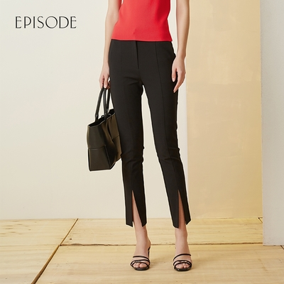 EPISODE - 百搭柔軟舒適顯瘦小開叉修身窄腳褲 (黑)