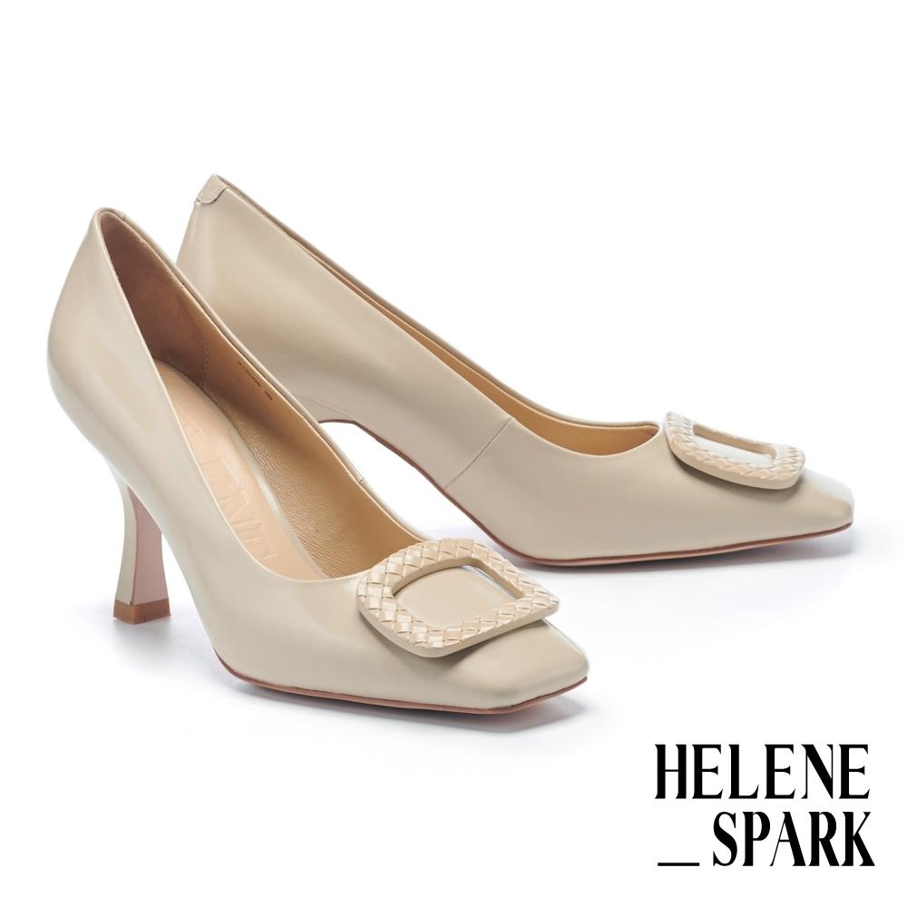 高跟鞋 HELENE SPARK 時髦復古純色壓紋釦牛皮方頭美型高跟鞋-米