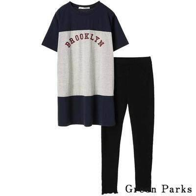 Green Parks  SET ITEM 拼接字母長板上衣+素面合身褲