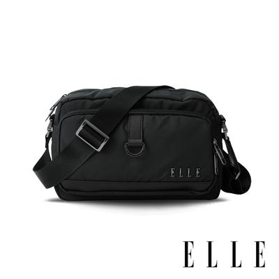 ELLE 都市再生系列 輕量多隔層搭配皮革設計休閒斜/側背包-黑 EL83513