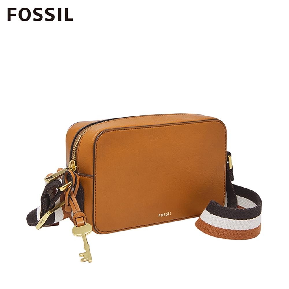 FOSSIL BILLIE 多彩條紋織帶方形立體斜背包-駝色 ZB7901231