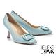 高跟鞋 HELENE SPARK 時髦復古純色壓紋釦牛皮方頭美型高跟鞋-藍 product thumbnail 1