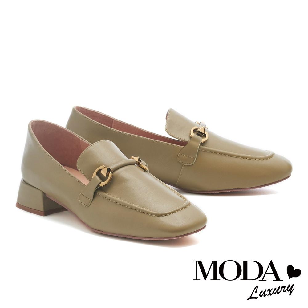 低跟鞋 MODA Luxury 韓系質感造型鼓帶牛皮樂福低跟鞋-綠