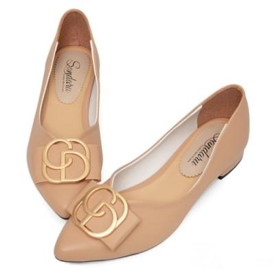 山打努SANDARU-尖頭鞋 典雅女人蝶結飾皮革低跟鞋-卡其