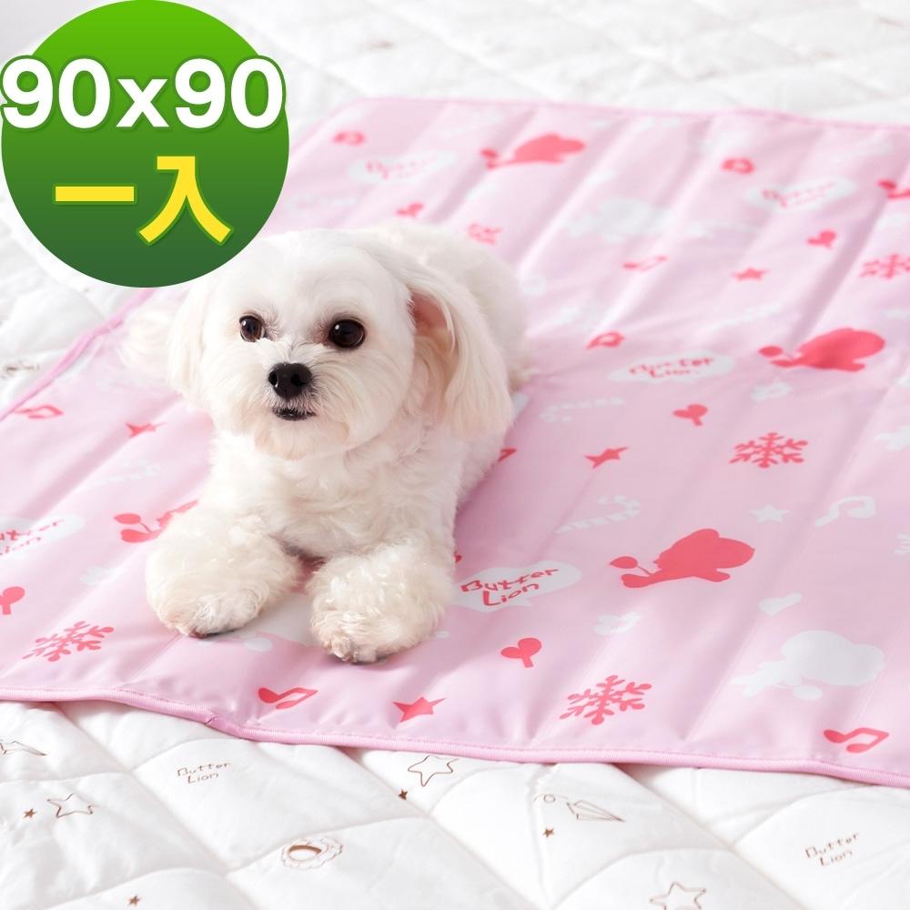 奶油獅-雪花樂園-長效型降6度涼感冰砂冰涼墊(90x90cm)大型寵物涼墊-粉色(一入)